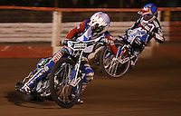 Heat 2: Kelvin Tatum (white) and Ashley Birks (blue) - Lakeside Hammers v Rico's All Stars, The Rico Spring Classic at the Arena Essex Raceway, Pufleet - 20/03/15 - MANDATORY CREDIT: Rob Newell/TGSPHOTO - Self billing applies where appropriate - 0845 094 6026 - contact@tgsphoto.co.uk - NO UNPAID USE