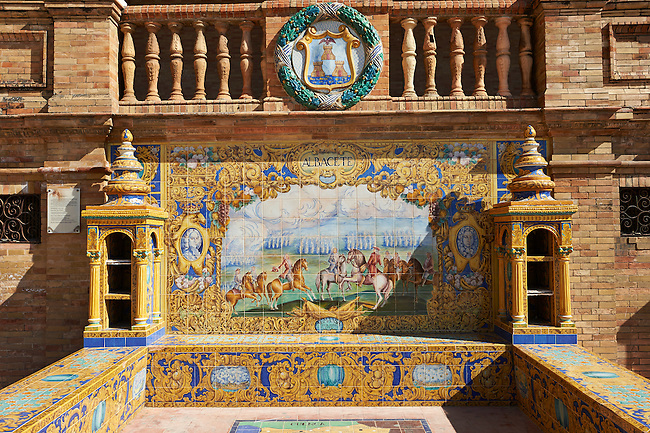 The tiled Albacette Alcove along the walls of the Plaza de Espana in Seville built in 1928 for the Ibero-American Exposition of 1929, Seville Spain