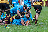Antonio TJ Harris of Jersey Reds scores a try during the Greene King IPA Championship match between Ampthill RUFC and Jersey Reds at Dillingham Park, Ampthill, England on 16 November 2019. Photo by David Horn.