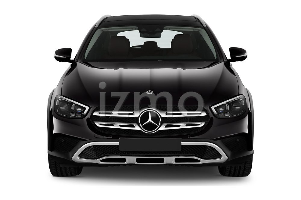 Car photography straight front view of a 2021 Mercedes Benz E-Class All-terrain-Avantgarde 5 Door Wagon Front View