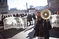 A man speaks passionately into a loudspeaker as The Baras Collective rallies in front of the Bagnolet Town Hall today as they continue to fight an expulsion from 72 René Alazard in Bagnolet, suburb of Paris, France. Jan. 31, 2015.