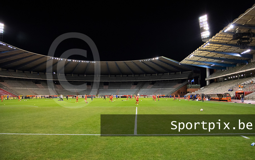 Illustrative photo of Kind Baudouin Stadium taken before a friendly female soccer game between the national teams of Belgium , called the Red Flames and The Netherlands , called the Oranje Leeuwinnen in a pre - bid tournament called Three Nations One Goal with the national teams from Belgium , The Netherlands and Germany towards a bid for the hosting of the 2027 FIFA Women's World Cup , on Thursday 18 th of February 2021  in Brussels , Belgium . PHOTO SPORTPIX.BE | SPP | SEVIL OKTEM