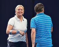 Hilversum, The Netherlands, March 12, 2016,  Tulip Tennis Center, NOVK, Mixed doubles, Josephine van der Stroom and Peter van Gurp<br /> Photo: Tennisimages/Henk Koster