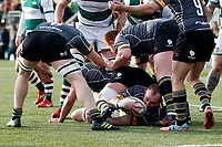 Nottingham Rugby FC hold onto the ball during the Championship Cup Quarter Final match between Ealing Trailfinders and Nottingham Rugby at Castle Bar , West Ealing , England  on 2 February 2019. Photo by Carlton Myrie / PRiME Media Images.