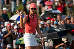 CHON BURI, THAILAND - FEBRUARY 20:  Michelle Wie of USA acknowledges to the crowd on the 18th green during day four of the LPGA Thailand at Siam Country Club on February 20, 2011 in Chon Buri, Thailand. Photo by Victor Fraile / The Power of Sport Images