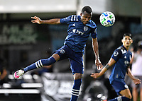 LAKE BUENA VISTA, FL - JULY 26: Gadi Kinda of Sporting KC heads the ball on goal during a game between Vancouver Whitecaps and Sporting Kansas City at ESPN Wide World of Sports on July 26, 2020 in Lake Buena Vista, Florida.