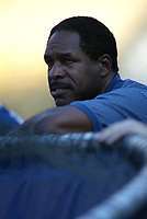 Former San Diego Padre Dave Winfield during a 2003 season MLB game at Dodger Stadium in Los Angeles, California. (Larry Goren/Four Seam Images)