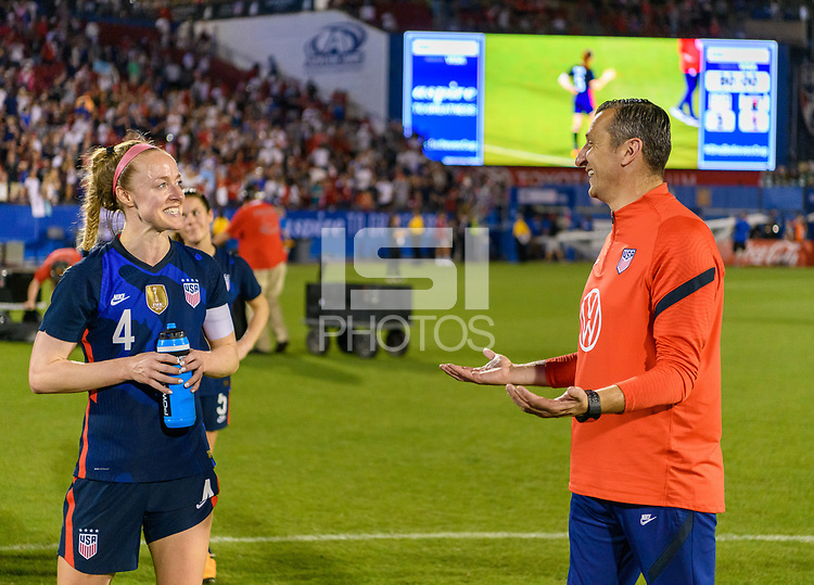 FRISCO, TX - MARCH 11: Becky Sauerbrunn #4 of the United States talks to Vlatko Andonovski after their win over Japan during a game between Japan and USWNT at Toyota Stadium on March 11, 2020 in Frisco, Texas.