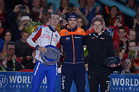 SCHAATSEN: HEERENVEEN: 07-03-2020, IJsstadion Thialf, ISU World Cup Final, Final Podium Long distances Men, Danila Semerikov (CAN), Patrick Roest (NED), Graeme Fish (CAN), ©foto Martin de Jong