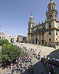 The start of Stage 12 of La Vuelta d'Espana 2021, running 175km from Jaén to Córdoba, Spain. 26th August 2021. <br /> Picture: Unipublic/Charly Lopez   Cyclefile<br /> <br /> All photos usage must carry mandatory copyright credit (© Cyclefile   Charly Lopez/Unipublic)