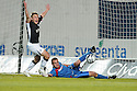 28/10/2008  Copyright Pic: James Stewart.File Name : sct_jspa07_falkirk_v_ict.GRANT MUNRO CLEARS GRAHAM BARRETT'S SHOT OFF THE LINE AS SCOTT ARFIELD CLAIMS IT WAS OVER THE LINE.James Stewart Photo Agency 19 Carronlea Drive, Falkirk. FK2 8DN      Vat Reg No. 607 6932 25.Studio      : +44 (0)1324 611191 .Mobile      : +44 (0)7721 416997.E-mail  :  jim@jspa.co.uk.If you require further information then contact Jim Stewart on any of the numbers above........