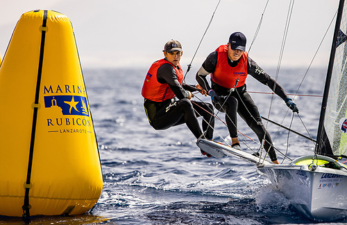 Tokyo bound Robert Dickson and Sean Waddilove in action. The Irish 49er duo will race at Aarhus in July 2022 if they continue to Paris 2024