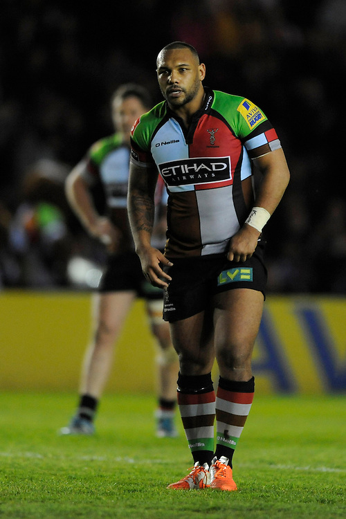 Jordan Turner-Hall of Harlequins during the Aviva Premiership match between Harlequins and Leicester Tigers at the Twickenham Stoop on Friday 18th April 2014 (Photo by Rob Munro)