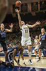 Feb. 21, 2014; Forward Natalie Achonwa shoots against Duke during the first half. Notre Dame won 81 to 70. Photo by Barbara Johnston/University of Notre Dame