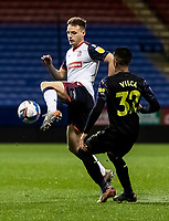 Bolton Wanderers' Tom White competing with Newcastle United U21's Rodrigo Vilca (right) <br /> <br /> Photographer Andrew Kearns/CameraSport<br /> <br /> EFL Papa John's Trophy - Northern Section - Group C - Bolton Wanderers v Newcastle United U21 - Tuesday 17th November 2020 - University of Bolton Stadium - Bolton<br />  <br /> World Copyright © 2020 CameraSport. All rights reserved. 43 Linden Ave. Countesthorpe. Leicester. England. LE8 5PG - Tel: +44 (0) 116 277 4147 - admin@camerasport.com - www.camerasport.com