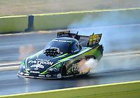 Sept. 23, 2012; Ennis, TX, USA: NHRA funny car driver Alexis DeJoria during the Fall Nationals at the Texas Motorplex. Mandatory Credit: Mark J. Rebilas-