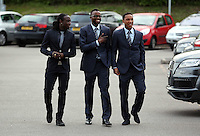 Wednesday 07 May 2014<br /> Pictured L-R: Marvin Emnes, Roland Lamah and Jonathan de Guzman arriving. <br /> Re: Swansea City's annual awards dinner the Liberty Stadium, Swansea, south Wales.