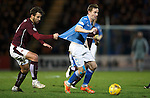 St Johnstone v Hearts..19.12.15  SPFL  McDiarmid Park, Perth<br /> Steven MacLean is pulled back by Sam Nicholson<br /> Picture by Graeme Hart.<br /> Copyright Perthshire Picture Agency<br /> Tel: 01738 623350  Mobile: 07990 594431