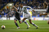 Dele Alli of Tottenham Hotspur & Dani Quintana of Qarabag FK chase the ball during the UEFA Europa League match between Tottenham Hotspur and Qarabag FK at White Hart Lane, London, England on 17 September 2015. Photo by Andy Rowland.