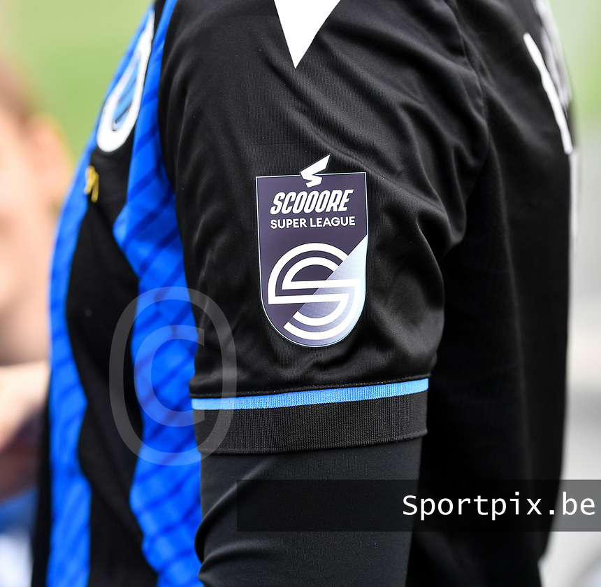 illustration picture showing the Scooore Super League logo on the Club YLA shirt during a female soccer game between Club Brugge Dames YLA and Zulte Waregem Ladies on the third matchday of the 2020 - 2021 season of Belgian Scooore Womens Super League , saturday 3 October 2020  in Brugge , Belgium . PHOTO SPORTPIX.BE | SPP | DAVID CATRY