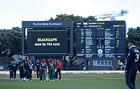 The teams walk in after the third One Day International cricket match between the New Zealand Black Caps and Bangladesh at the Basin reserve in Wellington, New Zealand on Friday, 26 March 2021. Photo: Dave Lintott / lintottphoto.co.nz