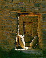 Morning light in hallway of ancient ruins; Aztec National Monument, NM