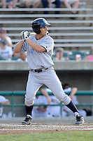 Left fielder Tyler Chism (40) of the Wilmington Blue Rocks bats in a game against the Lynchburg Hillcats on Tuesday, June 25, 2013, at Calvin Falwell Field in Lynchburg, Virginia. Lynchburg won, 3-2. (Tom Priddy/Four Seam Images)