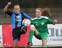 Club Brugge Vr  -  Maria Ter Heide :    : Duel met Elle Decorte van Club en Jorien Dictus <br /> foto VDB / BART VANDENBROUCKE