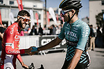 Riders greet one another at sign on before the start of Stage 1 of the 2018 Artic Race of Norway, running 184km from Vadso to Kirkenes, Norway. 16th August 2018. <br /> <br /> Picture: ASO/Pauline Ballet | Cyclefile<br /> All photos usage must carry mandatory copyright credit (© Cyclefile | ASO/Pauline Ballet)
