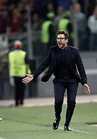 Football Soccer: UEFA Champions League AS Roma vs Chelsea Stadio Olimpico Rome, Italy, October 31, 2017. <br /> Roma's coach Eusebio Di Francesco speaks to his players during the Uefa Champions League football soccer match between AS Roma and Chelsea at Rome's Olympic stadium, October 31, 2017.<br /> UPDATE IMAGES PRESS/Isabella Bonotto