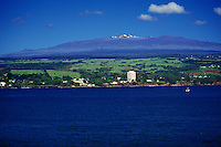 View of Hilo town from the bay with Mauna Kea in rear, Big Island of Hawaii
