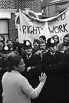 Grunwick Strike North London UK. Mrs Jayaben Desai strike leader on the Picket Line. 1977