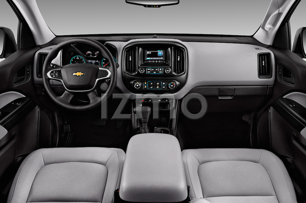 Stock photo of straight dashboard view of 2017 Chevrolet Colorado 2WD wt Extended Cab 3 Door Pick-up Dashboard