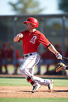 Los Angeles Angels of Anaheim Zach Gibbons (48) during an Instructional League game against the San Francisco Giants on October 13, 2016 at the Tempe Diablo Stadium Complex in Tempe, Arizona.  (Mike Janes/Four Seam Images)