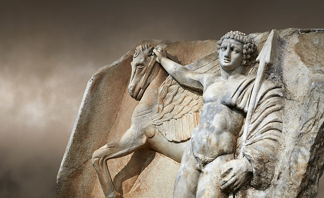 """Close up of a Roman Sebasteion relief  sculpture of  Bellerophon Aphrodisias Museum, Aphrodisias, Turkey.    <br /> <br /> Bellerophon was a Lykian hero and was claimed as a founder of Aphrodisias. He holds his winged horse Pegasos. The deign was modelled on another relief panel in the series """"Royal hero with Dod Hunting"""". The carving is poor and the sculptor may have been a novice.modelled"""
