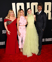 "LOS ANGELES, USA. October 15, 2019: Rebel Wilson, Scarlett Johansson, Thomasin McKenzie & Taika Waititi at the premiere of ""JoJo Rabbit"" at the Hollywood American Legion.<br /> Picture: Paul Smith/Featureflash"