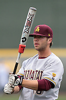 Joey DeMichele #18 of the Arizona State Sun Devils before a game against the UCLA Bruins at Jackie Robinson Stadium on March 16, 2012 in Los Angeles,California. UCLA defeated Arizona State 6-5.(Larry Goren/Four Seam Images)