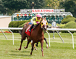 Glory to Kitten (no. 1) wins Race 1, Aug. 19, 2018 at the Saratoga Race Course, Saratoga Springs, NY.  Ridden by  Irad Ortiz, Jr., and trained by Jorge Abreu,  Glory to Kitten  finished 1 3/4 lengths in front of Free N Clear (no. 3).  (Bruce Dudek/Eclipse Sportswire)