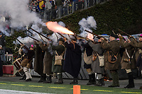 FOXBORO, MA - OCTOBER 10: Patriot's minutemen celebrate a touchdown during a game between New York Giants and New England Patriots at Gillettes on October 10, 2019 in Foxboro, Massachusetts.