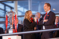 Team captain Alun Wyn Jones laughs while interviewed by the BBC during the Celebration for Wales Six Nations Win at the National Assembly for Wales, Cardiff Bay, Wales, UK. Monday 18 March 2019