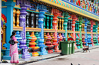 Batu Caves, Columns of Hindu Temple at Base of Stairs Leading to Caves, Selangor, Malaysia.