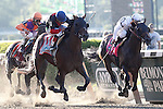 June 7, 2014: Tonalist (#11, center), trained by Christophe Clement and ridden by Joel Rosario wins the 146th running of the Grade I Belmont Stakes at Belmont Park , Elmont, NY. #8 Commissioner (right) was second.   ©Joan Fairman Kanes/ESW/CSM