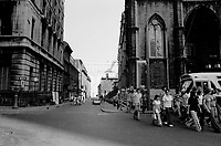 MONTREAL, CANADA - File Photo - St-Sulpice street and Notre-Dame, Old-Montreal  in August 1973 .<br /> <br /> File Photo : Agence Quebec Presse - Alain Renaud