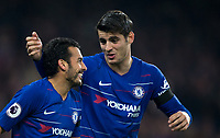 Goalscorer PEDRO is congratulated by Álvaro MORATA of Chelsea during the Premier League match between Chelsea and Crystal Palace at Stamford Bridge, London, England on 4 November 2018. Photo by Andy Rowland.<br /> .<br /> (Photograph May Only Be Used For Newspaper And/Or Magazine Editorial Purposes. www.football-dataco.com)