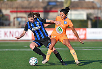 Nicky Van Den Abbeele (28 Brugge) pictured in a battle for the ball with Jolet Lommen (9 Gent) during a female soccer game between Club Brugge Dames YLA and AA Gent Ladies on the sixth matchday of the 2020 - 2021 season of Belgian Scooore Womens Super League , saturday 7 th November 2020  in Knokke , Belgium . PHOTO SPORTPIX.BE | SPP | DAVID CATRY