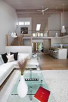 Modern white corner sofa