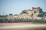 The peloton during Stage 14 of La Vuelta d'Espana 2021, running 165.7km from Don Benito to Pico Villuercas, Spain. 28th August 2021.     <br /> Picture: Unipublic/Charly Lopez   Cyclefile<br /> <br /> All photos usage must carry mandatory copyright credit (© Cyclefile   Charly Lopez/Unipublic)