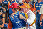 Chip Ganassi Racing driver Scott Dixon (9) of New Zealand celebrates after winning the DXC Technology 600 race at Texas Motor Speedway in Fort Worth,Texas.