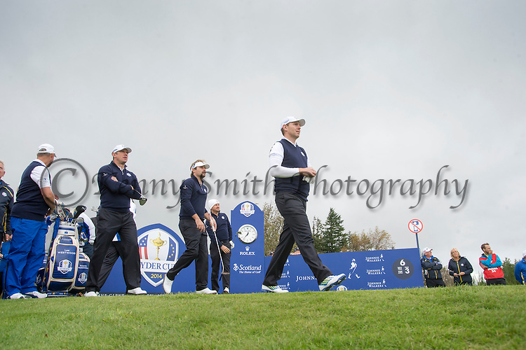 Scotsman Stephen Gallacher strides off the 6th tee during a practice session at Gleneagles Golf Course, Perthshire. Photo credit should read: Kenny Smith/Press Association Images.