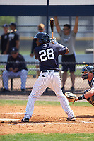 New York Yankees Jorge Mateo (28) at bat during a minor league Spring Training game against the Detroit Tigers on March 22, 2017 at the Yankees Complex in Tampa, Florida.  (Mike Janes/Four Seam Images)
